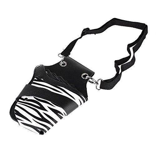 Anself - Tijeras de piel sintética para peluquería, bolsa de soporte para estilista de pelo con remaches, cinturón de hombro