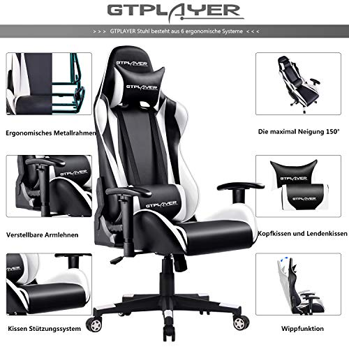 GTPLAYER Sedia Gaming Ufficio da Scrivania Poltrona Ergonomica Sedie da Gaming Girevole con Rotelle, Altezza Regolabile e Supporto Lombare