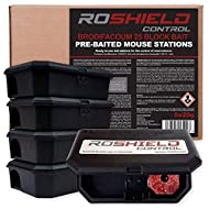 Roshield Pre-Baited Single Feed Mouse Control Safety Box Kit (Ready-to-use 5 Pack, Brodifacoum)
