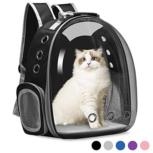 Vailge Cat Carrier Backpack, Pet Carrier Backpack Front Pack for Small Medium Cat Puppy Dog Carrier Backpack Bag Space Capsule, Pet Carrier for Travel Hiking Walking Camping (Black)