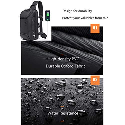 Sling Bag Anti Theft Shoulder Crossbody Sling Backpack With USB Charging Port Waterproof Travel Hiking Chest Daypack (Black)