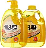 Mama Lemon Dishwashing Liquid, Lemon Gold, 1L Banded with 1L Refill