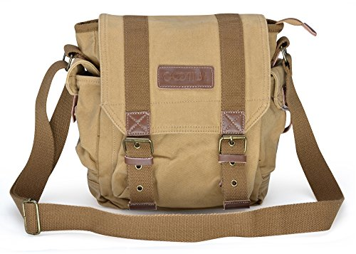 Gootium 21217KA Vintage Canvas Satchel Classic Messenger Bag,Khaki