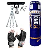 ONEX 4FT Heavy Filled Boxing Punch Bag Buyer Build Set, Chains,Ceiling,Punching Gloves for Training Fitness water Proof Bag MMA (Blue 4ft with hook)