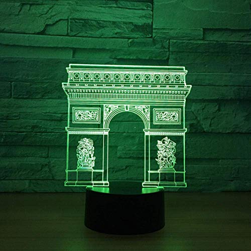 Noche luz de la noche Francia Arco del Triunfo Puerta de construcción 3D LED llevó la luz de la lámpara RGB de colores luz nocturna Dormir regalos iluminación del niño del juguete de los niños