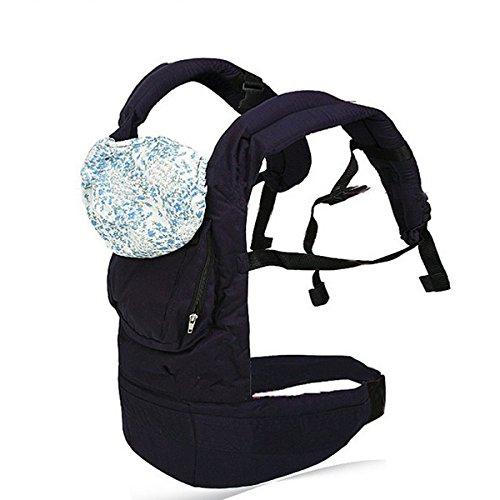 Foxnovo Multi-funzionale fascia per bebè, baby carrier zaino confortevole infantile sling impacco con cappuccio (blu scuro)