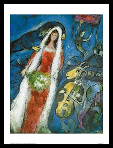 1art1 Marc Chagall Poster Kunstdruck und MDF-Rahmen Schwarz - La Mariee (80 x 60cm)