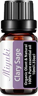 Miyuki Clary Sage Essential Oils Organic Plant & Natural 100% Pure Therapeutic Grade Clary Sage Aromatherapy Oil for Diffu...