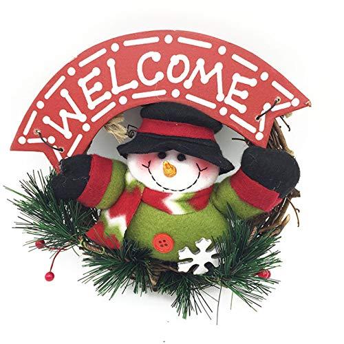 Lemoning Home Decor, Christmas Decorations Doll Wreath Rattan Ring Xmas Tree Pendant Hanging Ring