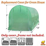 Strong Camel Greenhouse Replacement Cover Larger Walk in Outdoor Plant Gardening Greenhouse (Frame Does NOT Included) (12' X 7' X 7')