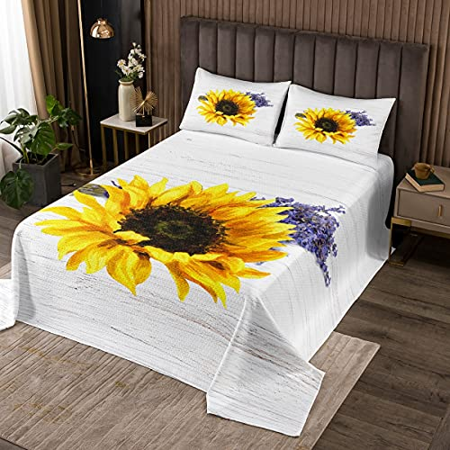 Castle Fairy Sunflower Floral Bedspread Set Queen Size, Yellow Plant Print Duvet Quilted for Girls Women Bedroom Decorations, Purple Lavender Coverlet Set with 2 Pillow Shams