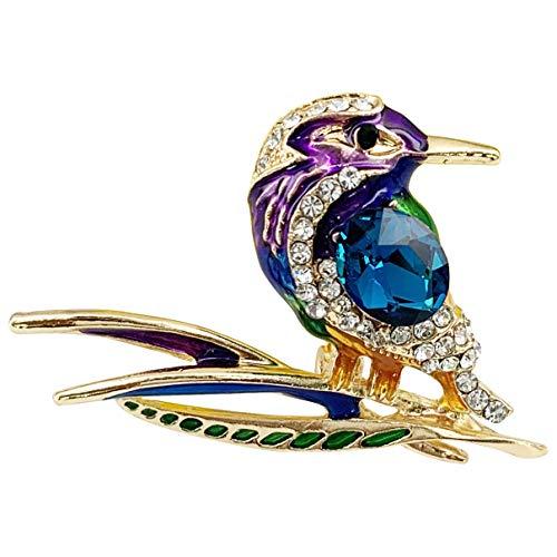 SELOVO Green Enamel Hummingbird Bird Rhinestone Crystal Brooch Pin Jewelry Gold Tone
