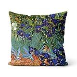 Cojín decorativo Van Gogh Iris Flower EIN Funda de cojín Solid Square Cojín de algodón de terciopelo holandés, decoración para el hogar, sofá, coche, dormitorio, 45 x 45 cm