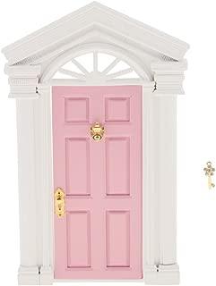 Perfeclan Dollhouse Miniature Fairy External Wooden Door W/Hardware Purple 1/12 Pink