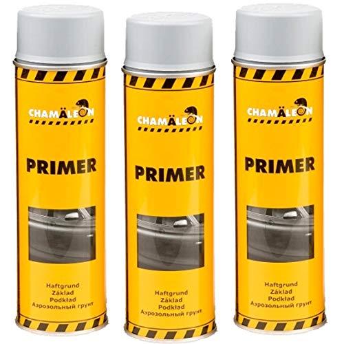 Chamäleon Spray de imprimación 1K, 3 x 500 ml, color gris, relleno acrílico, relleno de capa de imprimación anticorrosión