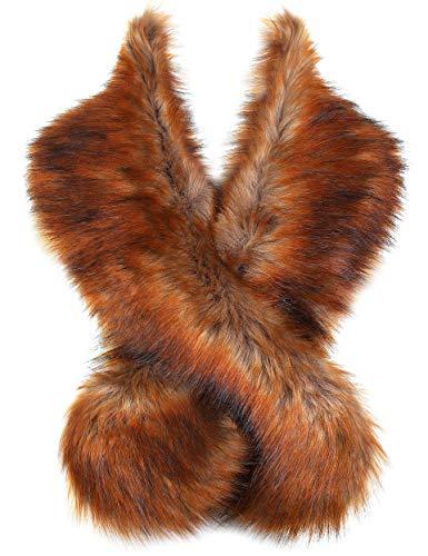 ArtiDeco dames kunstbont sjaal pluizig imitatiebont omslagdoek kraag voor wintermantel jaren 20 flapper accessoires outfit warme accessoires 120 cm lang