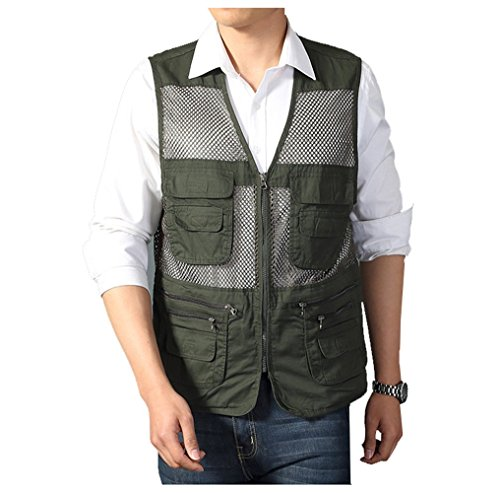 Men's Mesh Fishing Vest Photography Work Multi-pockets Outdoors Journalist's Vest Jacket (Army green, Medium)