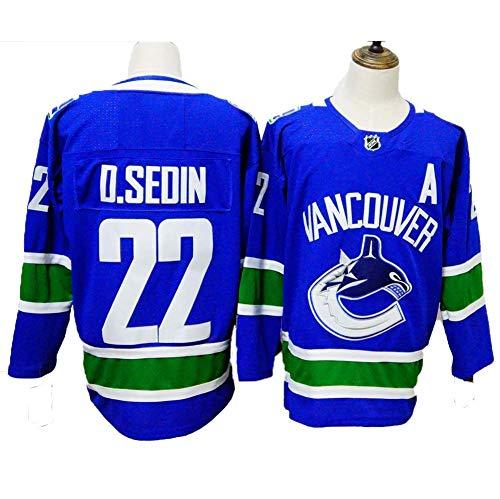 Yajun D.Sedin#22 Vancouver Canucks Eishockey Trikots Jersey NHL Herren Sweatshirts Atmungsaktiv T-Shirt Bekleidung,XL