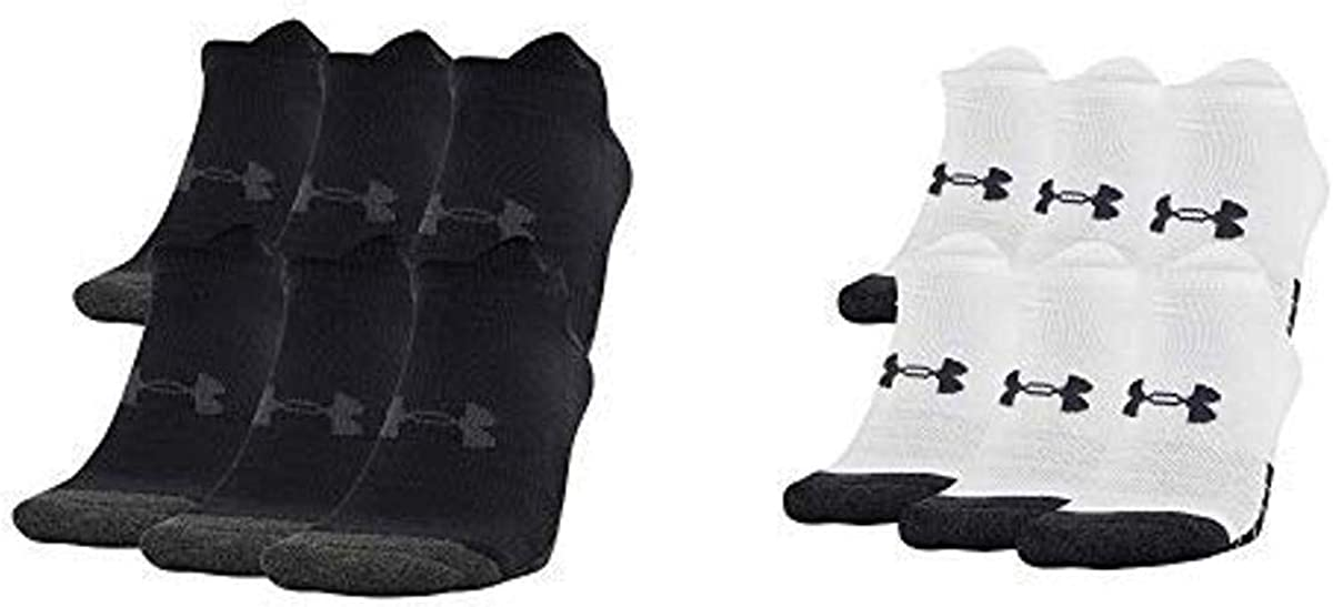 Under Armour Adult Performance Tech No Show Socks (6 Pairs), Shoe Size: Mens 12-16, Black & Under Armour Adult Performance Tech No Show Socks (6 Pairs), Shoe Size: Mens 12-16, White