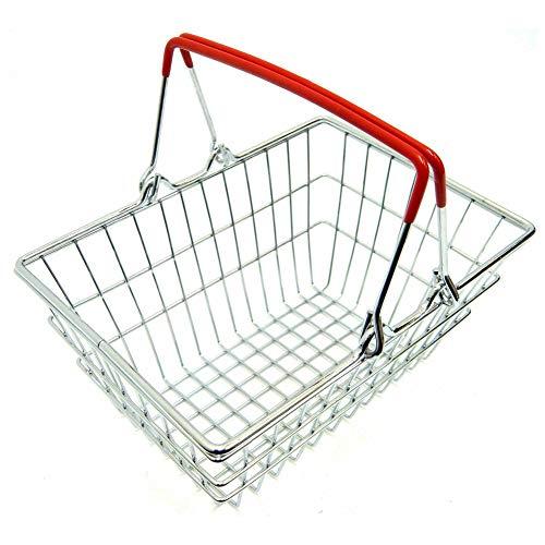 H87yC4ra Cesta De Compras Miniatura Del Supermercado Del Metal, Los Accesorios De La Casa De Muñecas Fingen El Juguete Del Juego rojo