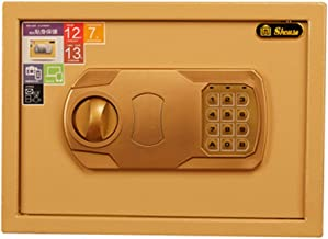 Safe Box Golden Safe Small Hotel Safe Home Password Box Anti-Theft Cabinet Office Safe for Home and Office (Color : Gold, ...