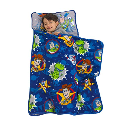 Disney Toy Story 4 - Toys in Action Toddler Nap Mat, Blue, Green, Yellow, Grey