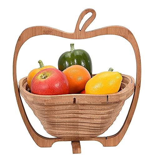 Estante de fruta plegable de bambú en forma de manzana, bastidor de frutas plegables, cesta de almacenamiento de bocadillo hecha a mano-B