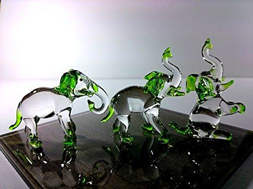 Sansukjai Set 3Elefant Figuren Tiere Handbemalt Grün Mundgeblasenes Glas, Kunst Sammlerstück Geschenk Dekorieren
