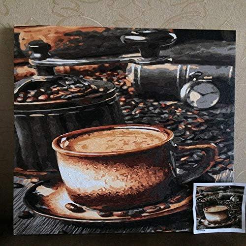 QIAISHI Rahmenloses Bild  em e von Zahlen Wanddekor DIY Gem e auf Leinwand für Wohnkultur Kaffee