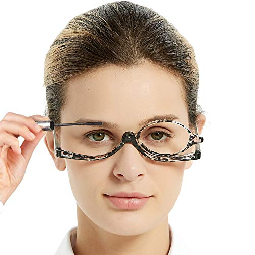 OCCI CHIARI Eye Make Up Reading Glasses Women Magnifying Eyewear Rotatable Cosmetic Eyeglasses 100 125 150 175 200 225 250 275 300 350 400 500 600(Black 2.0)