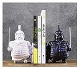 Libro Feckends Shelf Book Hookends for Heavy Books Retro Terracotta Army Soldier Soldier Bookends Hogar Ornamentos Decorativos Bookends Decorativo Regalo Bookstand (Color : Black+White)
