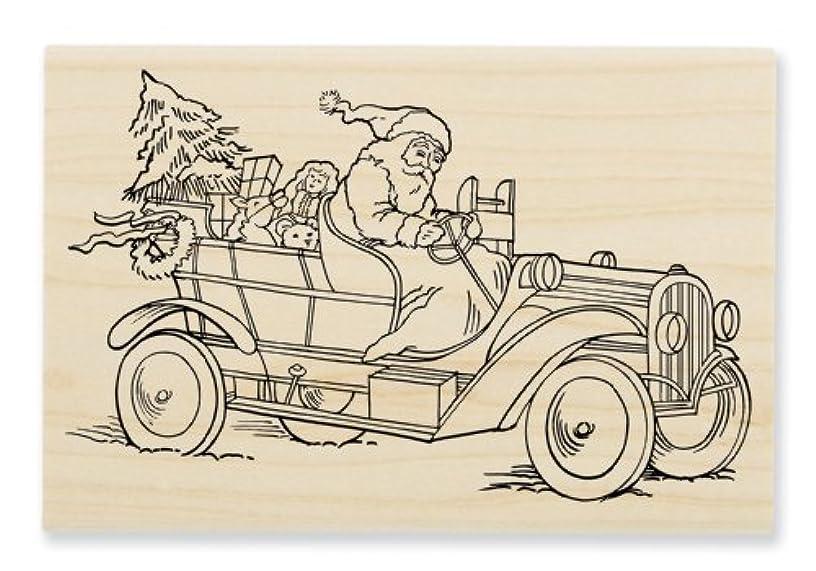 STAMPENDOUS, Wood Handle Stamp, Santa Roadster