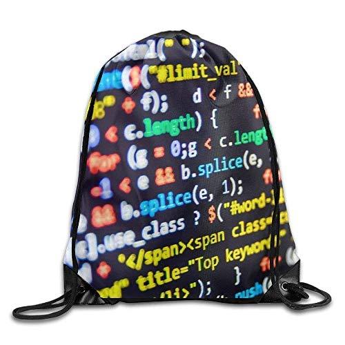 DHNKW Unisex Colorful Computer Code Art Print Drawstring Backpack Rucksack Shoulder Bags Gym Bag Sport Bag