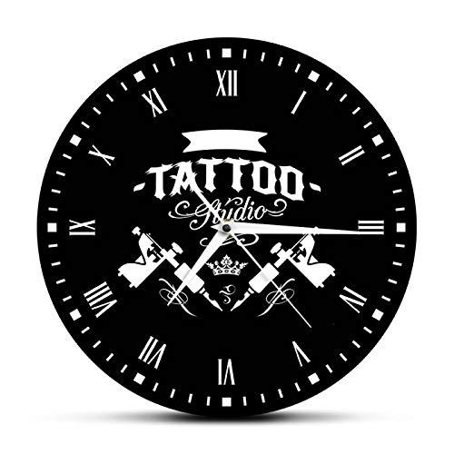 gongyu Estudio de Tatuajes Máquina de Tatuaje Reloj de Pared Moderno Salón de Tatuajes Decoración de la Tienda Reloj Redondo Negro Reloj Hipster Hombres Tatuador Regalo