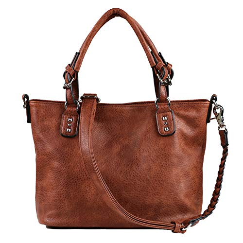 Concealed Carry Purse - YKK Locking Ella Braided Concealed Weapon Tote by Lady Conceal (Mahogany)