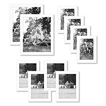 Americanflat 10 Piece White Gallery Wall Picture Frame Set in 8x10 5x7 and 4x6 - Composite Wood with Shatter Resistant Glass - Horizontal and Vertical Formats for Wall and Tabletop