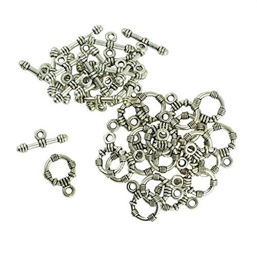 non-brand 20 Sätze Vintage Tibetan Silber Runde Kippverschlüsse für Armband Schmuck DIY