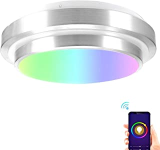 WiFi Smart LED Ceiling Light for Bedroom,RGB Multicolor LED Bed Room Lamp Compatible with Alexa Echo Google Home Siri Dimmable Voice Remote Control Light Fixture for Living Room,Easy Setup 13