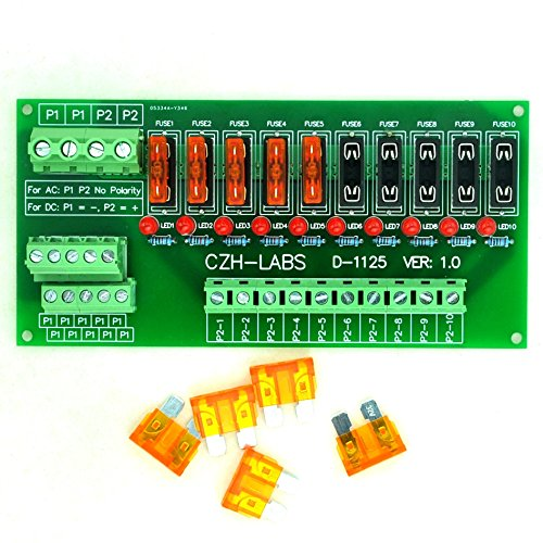 Electronics-Salon Panel Mount 10 Position Power Distribution Fuse Module Board, for AC/DC 5~32V