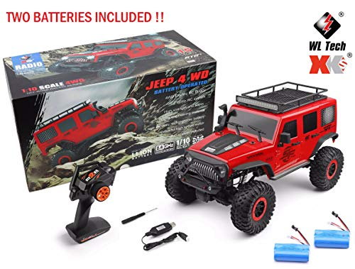 MODELTRONIC Crawler RC Jeep Wrangler SUV WLtoys 104311 1/10 Maßstab 2.4G 4WD RTR Rote Farbe mit zusätzlicher Batterie