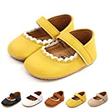 HsdsBebe Mary Jane Flats Dress Shoes for Baby Girls Anti-Slip Soft Rubber Sole Infant First Walkers Newborn Christening Baptism Crib Shoes(M1992 Yellow,2)