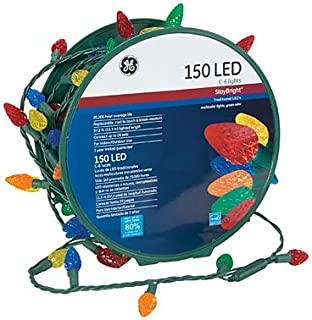 GE 150 LED C6 Stay Bright Multi-Color Lights Green Wire
