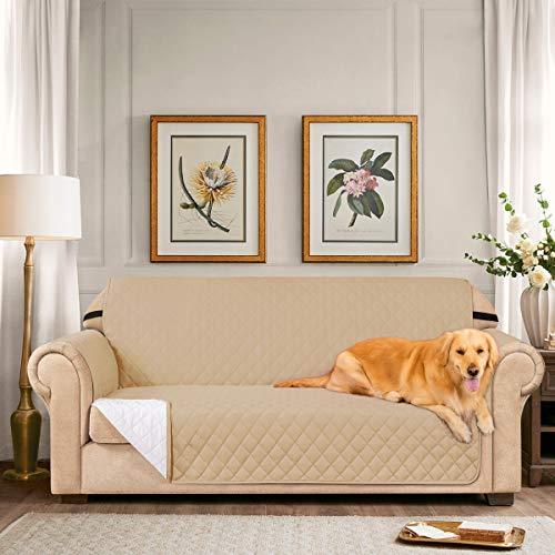 subrtex Gesteppter Sofabezug, wendbar, Sofaschoner, 1-, 2-, 3-Sitzer, Couchbezug mit verstellbaren Gummibändern, seitliche Aufbewahrungstasche (Loveseat, Khaki)