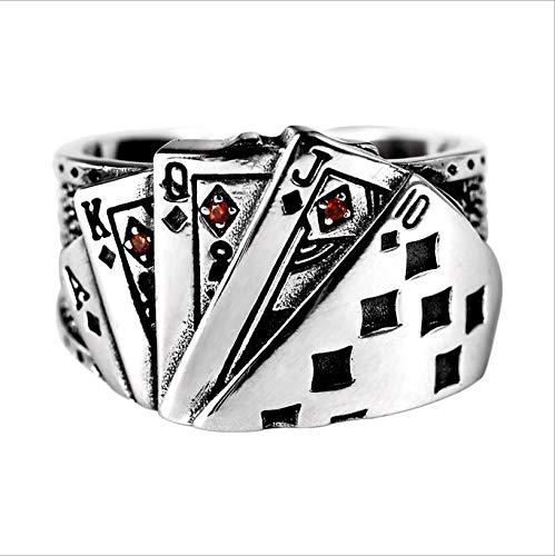 HJG Vintage Mode-Poker Glücksring mit rotem Emaille-Spades Royal Flush, Edelstahl Biker Ringe für Männer