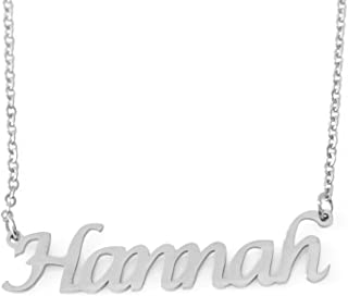 Zacria Hannah Personalized Name Necklace Customized Silver Tone