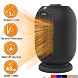 MRMIKKI Mini Space Heater, Ceramic Space Heater, Small Electric Heater, with Tip-Over & Overheating Protection, 1200W/750W Heating Fan, PTC Ceramic Heater Perfect for Commercial & Home, VH-12TQ-B