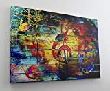 Gemälde Musik Bunt Notenschlüssel Leinwand Canvas Bild Wandbild Kunstdruck L2146 Größe 70 cm x 50 cm
