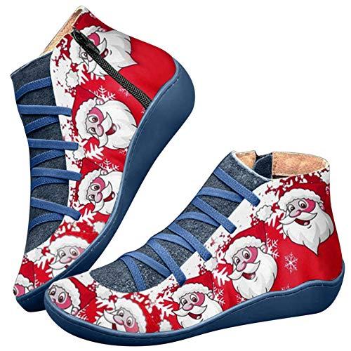 Huaheng PU lederen enkellaarzen Vintage Lace Up Vrouwen Schoenen Kerstman afdrukken Rits voor Kerstmis 35 EU Blauw