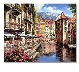 VVNASD Puzzles para Adultos 1000 Piezas Europa Ciudad Imágenes Bricolaje Artes Estilo Paisaje Puerto Ciudad Inicio Obra De Madera Juguete Educativo para Niños Y Adultos
