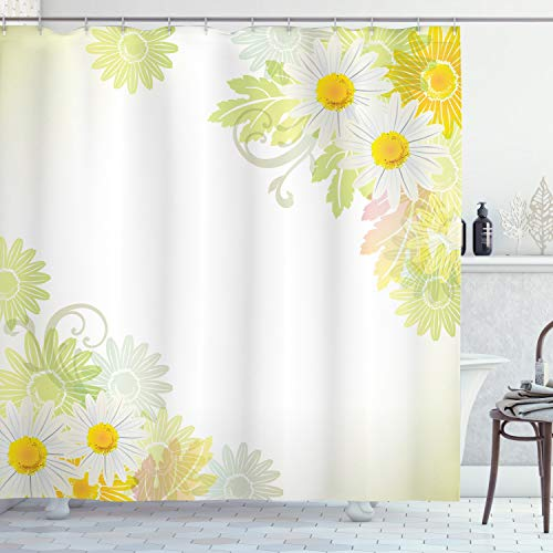 ABAKUHAUS Bloem Douchegordijn, Abstract, stoffen badkamerdecoratieset met haakjes, 175 x 220 cm, Wit en geel